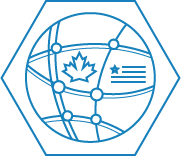 Icon with a network mesh including a canadian maple leaf and a stylized american flag
